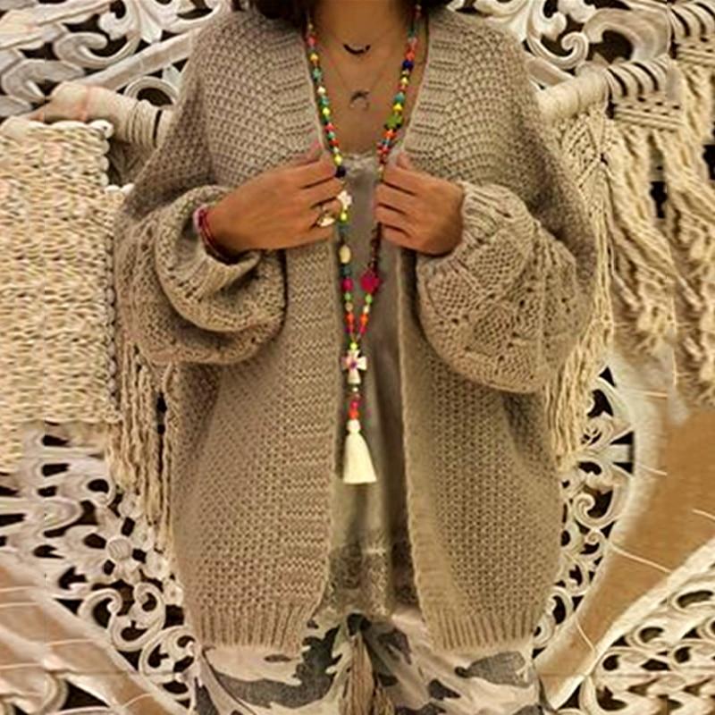 8e40a37b0eb2 Suéter de moda de otoño Cardigan borla Jersey de algodón femenino sólido  Irregular diseño puente para