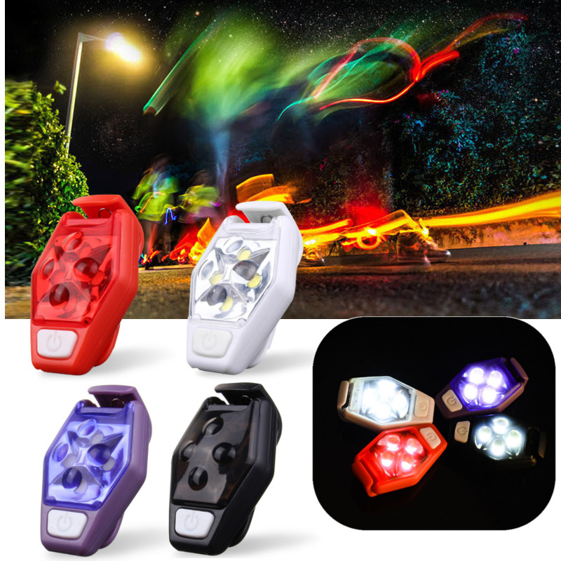 New Back Clip Signal Lamp 4 LED IPX4 Waterproof Night Running Sports Riding Warning Lights Bicycle Tail Lamp 4 Modes Camping