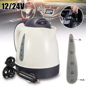 Calentador de agua portátil para coche de 1000 ML, para viaje, 12 V/24 V, para té y café, acero inoxidable 304, vehículo de gran capacidad Calentador de taza del vehículo     -