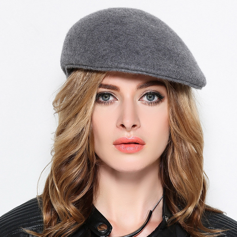 f424d6fa4de60 Men Felt Flat Peaked Hats Adult Winter Casual Plain Beret Caps Women 100% Wool  Felt