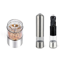 Stainless Steel Professional Kitchen Gadgets Cooking Tools Portable Salt Pepper Mill Spice Grinder Electric Easy Cleaning