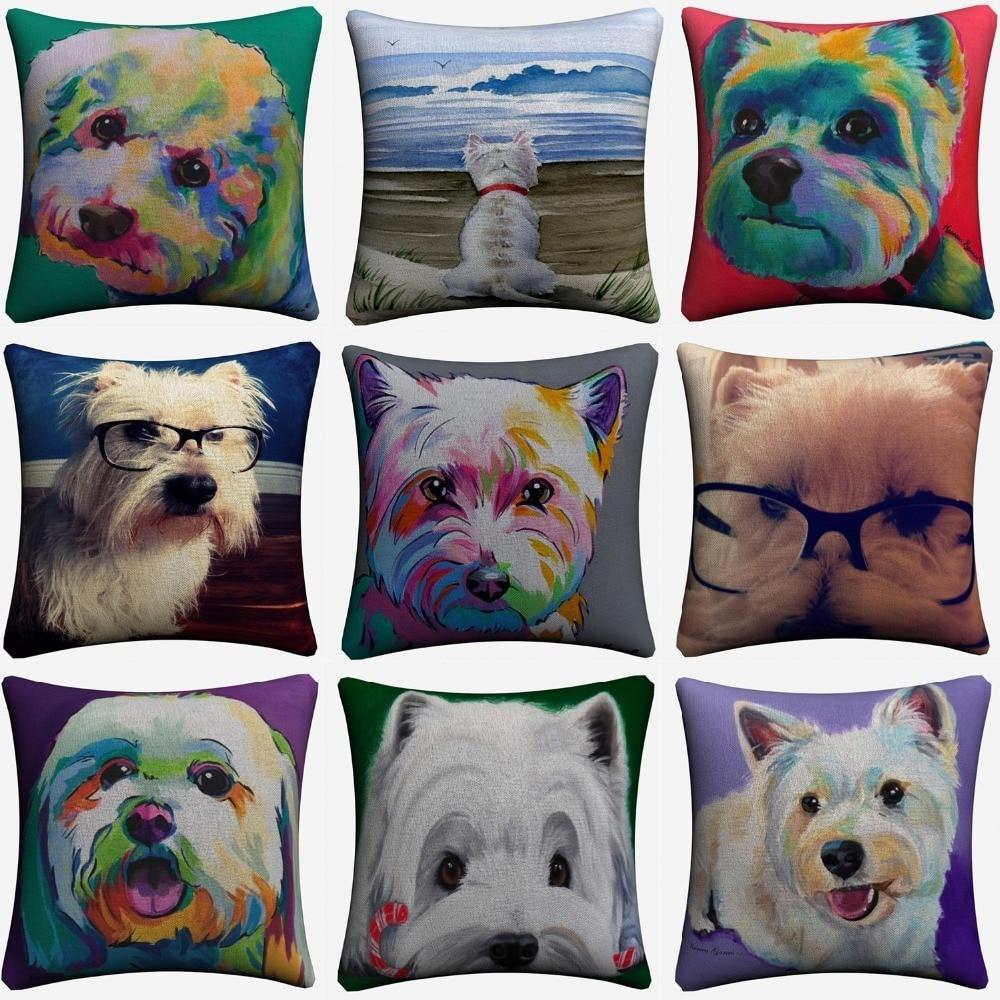 Westie Pet Dog Watercolor Art Decorative Cotton Linen Cushion Cover 45x45cm Throw Pillow Case For Sofa Home Decor Almofada in Cushion Cover from Home Garden
