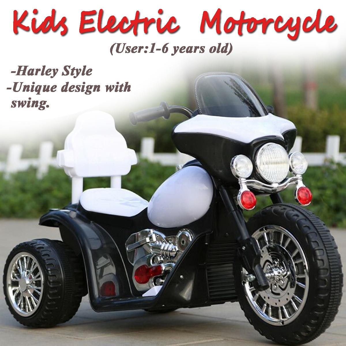 Enfant Moto Jouet New American Style Plug Enfants Électrique Moto 3 Anti Slip Roues pour Harley Style 1-6 ans Noir et Blanc