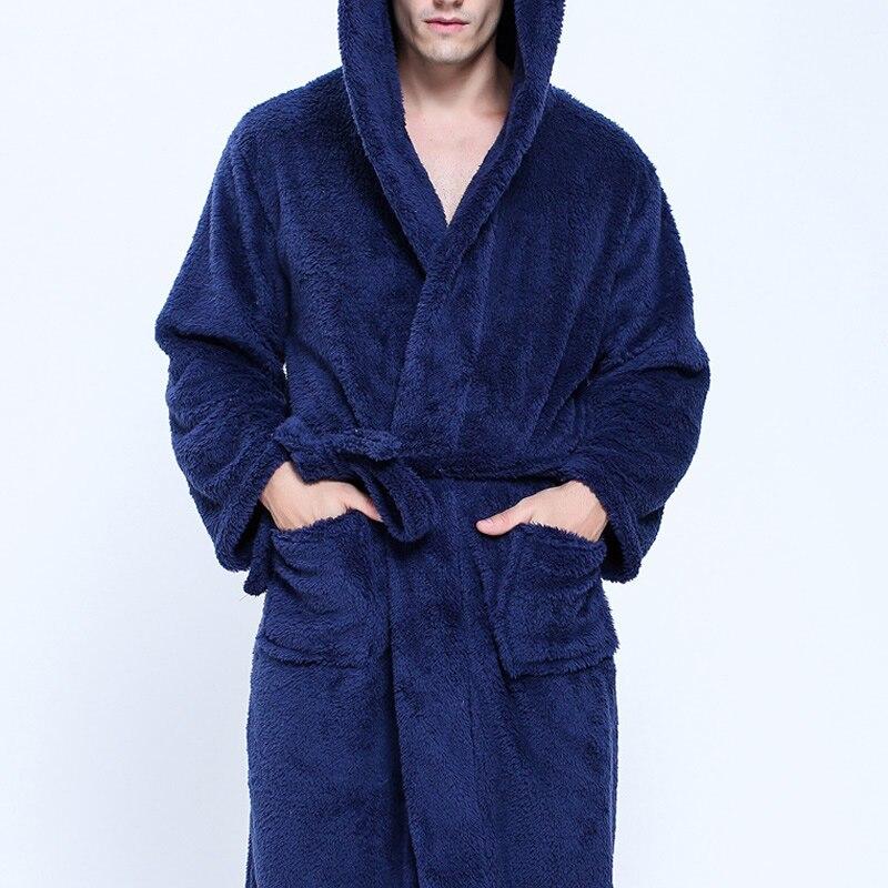 Paar Dressing Kleider Für Männer Frauen Warm Super Weich Flanell Korallen Fleece Lange Bad Robe Herren Kimono Bademantel Männlichen Robe mit kapuze