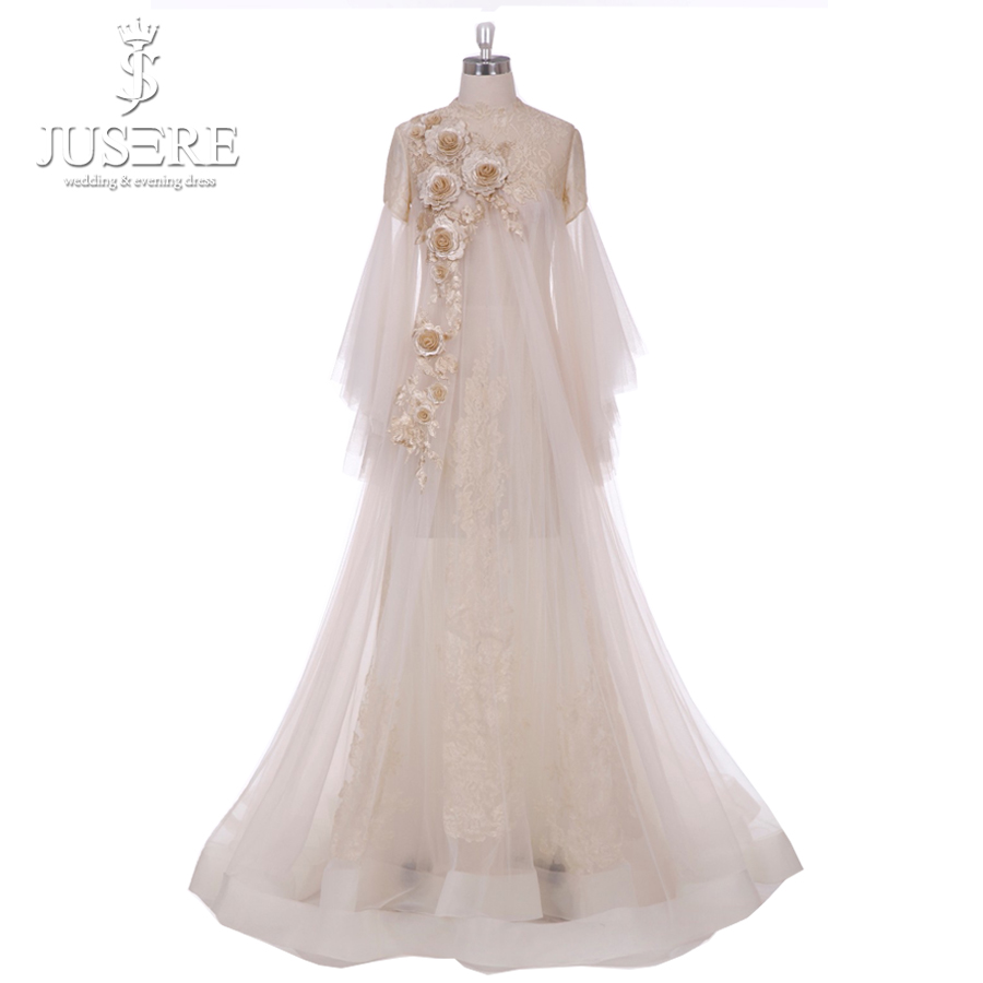Jusere 2018 Unique Dubai Saudi Arabia Style Tulle A-Line 3D Flowers Long Sleeve Lace   Prom     Dresses   Floor-Length Evening PartyGown