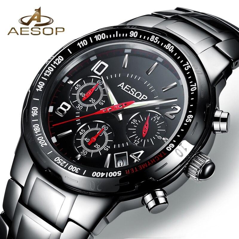 Aesop noir Sport hommes montre Quartz montre-bracelet militaire étanche antichoc en céramique mâle horloge Relogio Masculino Hodinky 9986g