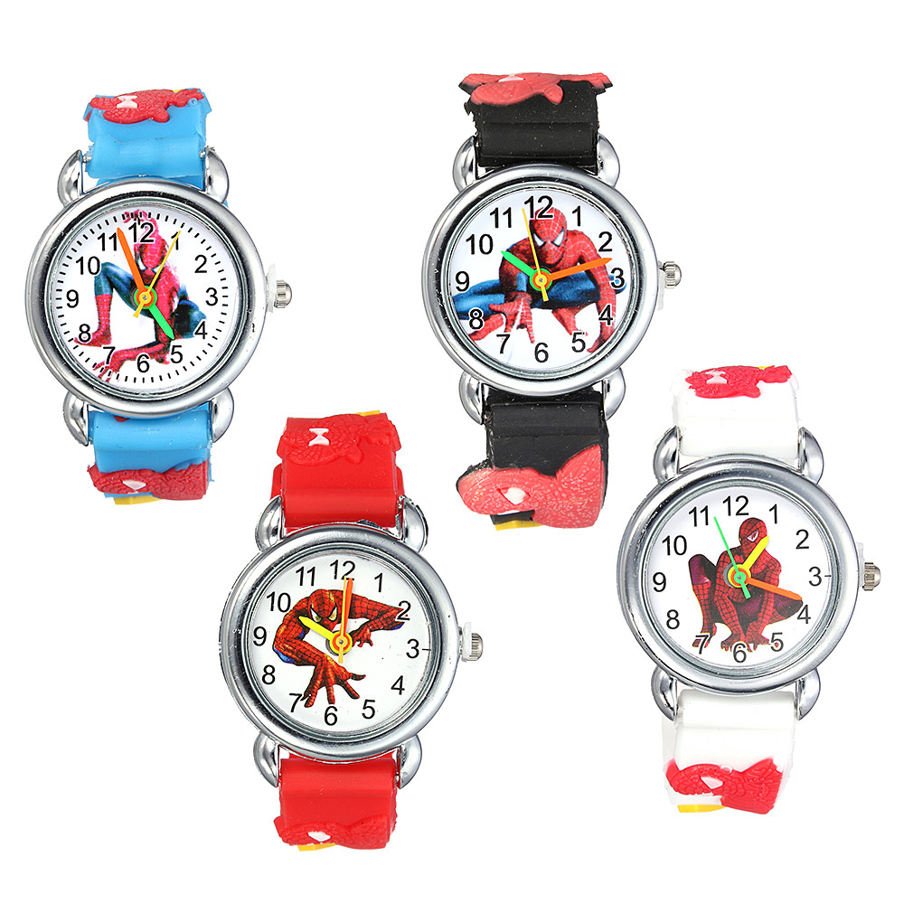 Hot Sale Spiderman Watch Cute Cartoon Watch Kids Watches Cartoon 3d Rubber Quartz Watch Gift Children Hour Reloj Montre Relogio
