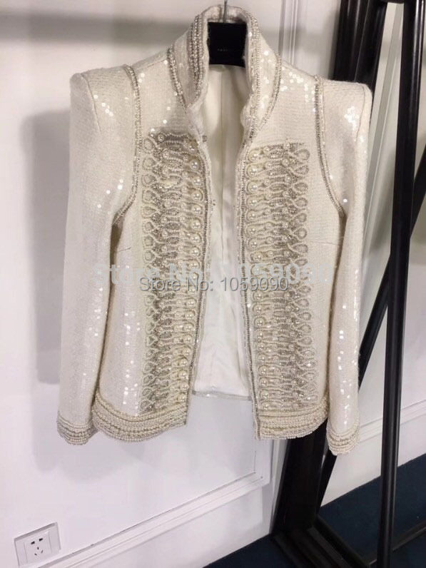Manches Mao À Brodé Manteau Quality Appliques Veste Longues Top All Col Pad Perlée Neutre Femme Paillettes over Piste Épaule Blanc q6PFR