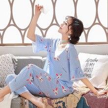 2019 Summer Cotton Sleep Lounge Women Thin Pajamas Set With Pants Cute Rabbit Pyjama Sleepwear Femme Pijama Nightwear