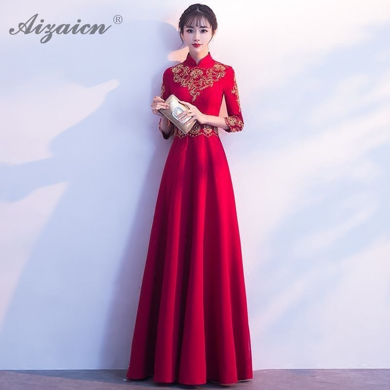 Red Embroidery Elegant Qipao Long Women Traditional Chinese Style Bridesmaid Party Dresses Modern Cheongsam Vestidos Formales in Cheongsams from Novelty Special Use
