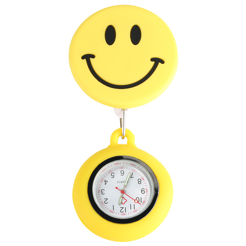 Silicone Large Ornamental Smiling Face Pocket Watch Nurse Retractable Rope With Stainless Steel Clip Gift Calcetines Enfermera