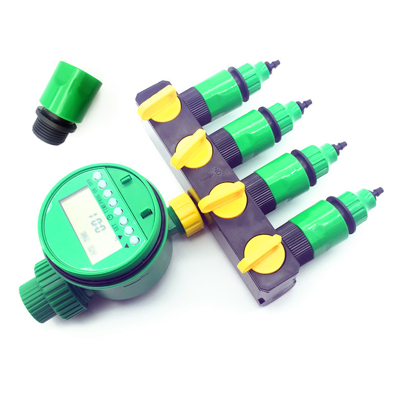 1 Set(7 Pcs)Home Garden Irrigation Drip Timer Pipe Splitter 4 Way Tap Connectors Quick Connector 3/4 Screw Thread Interface|Garden Water Timers| |  - title=
