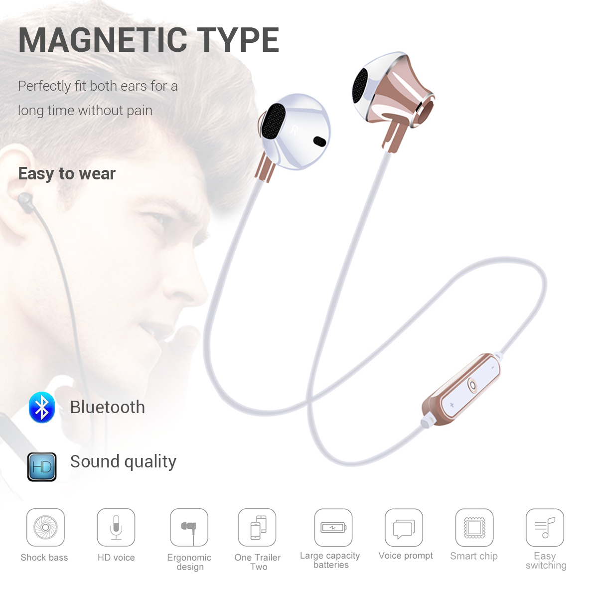 Sports Bluetooth Wireless Earphone Headset Subwoofer Stereo Running Earphones With Microphone Sports Headsets Smart Mobile Phone