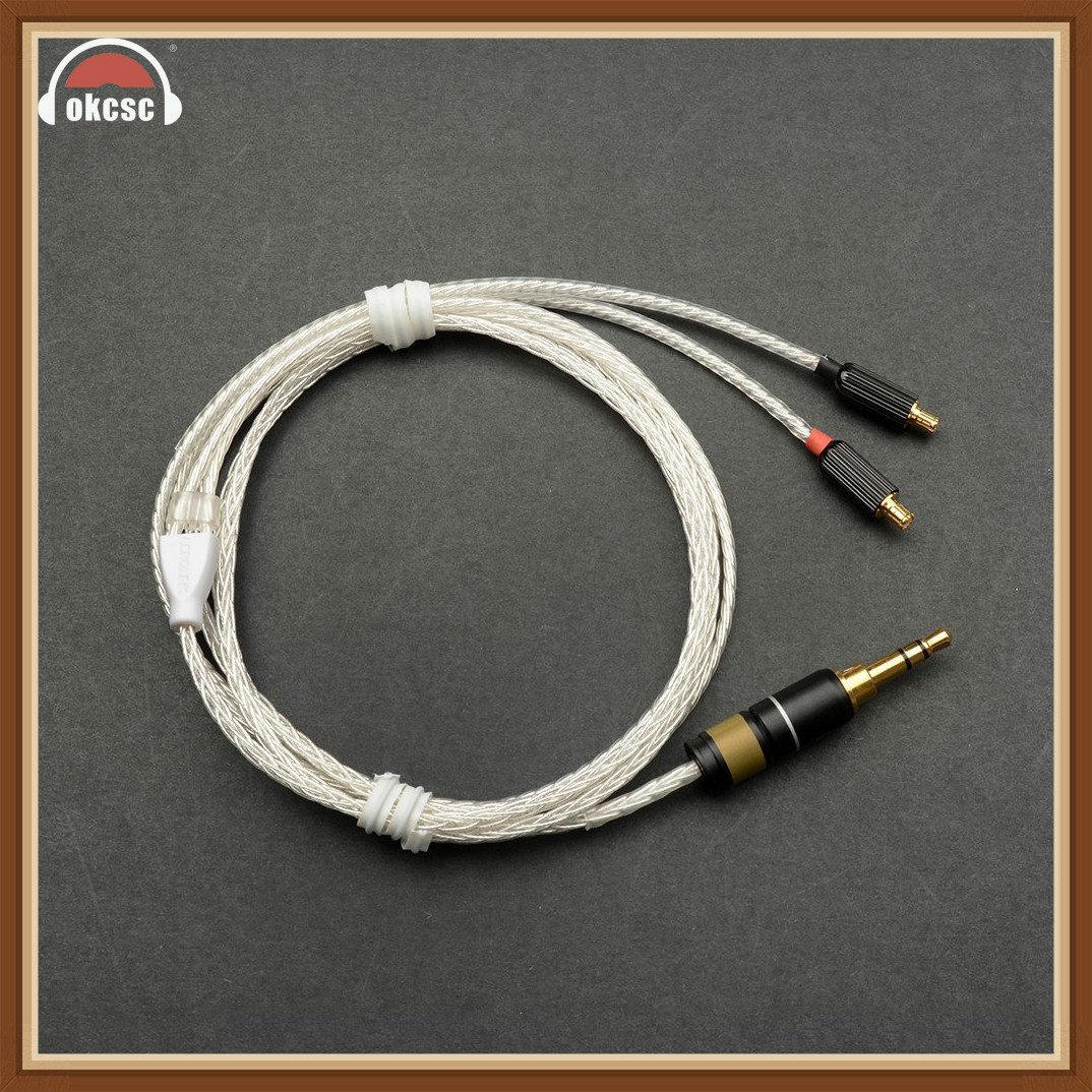 Okcsc Headphone Cords A2DC Interface Cable 3 5mm Plug Upgrade Cable 8 Cores Plated Silver For