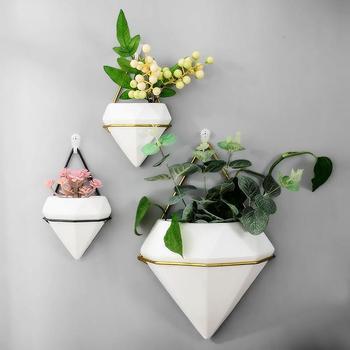 Hidropônico Vaso De Flores Cerâmica Criativo Verde Radiante Parede Pendurado Flor Carnuda Vaso Branco Planta Vaso Artificial Flor