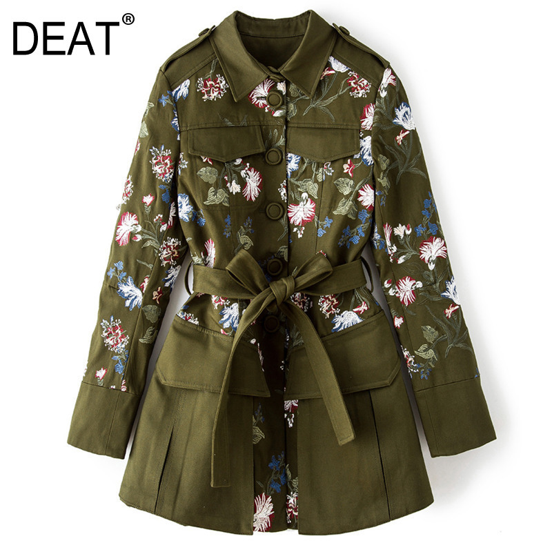 DEAT Coat Trendy Windbreaker Printing Autumn Fashion Casual New Tide BE812 Bandage Turn-Down-Collar