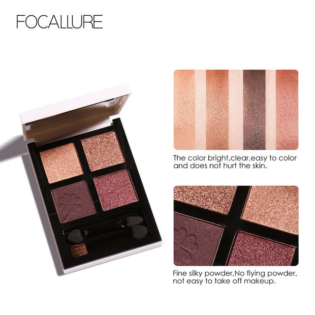FOCALLURE brand new 4 colors Glitter eyeshadow palette long lasting waterproof eye shadows palette for daily shadows 1