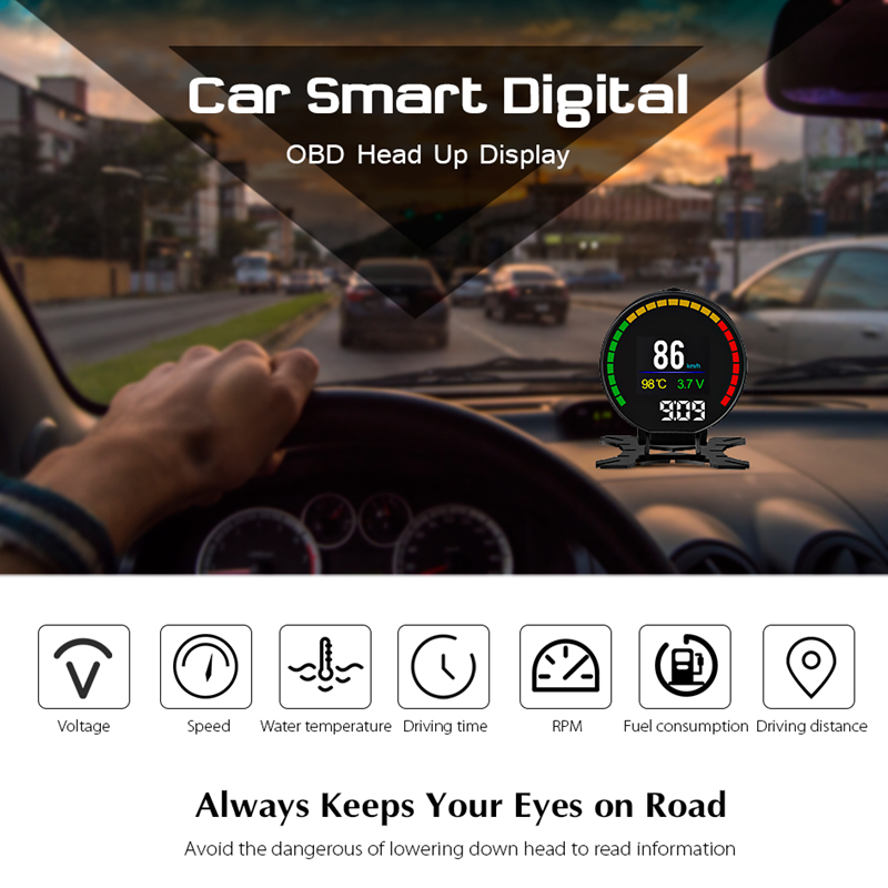 P15 Car 2.84 inch HUD Smart Digital OBD2 OBD II Head Up Display Over Speed Alarm Shift Reminder Auto Electronic Voltage Alarm