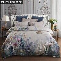 TUTUBIRD-ropa de cama de algodón egipcio europeo ropa de cama de satén ropa de cama suave funda de edredón pastoral floral colchas 4 piezas juegos