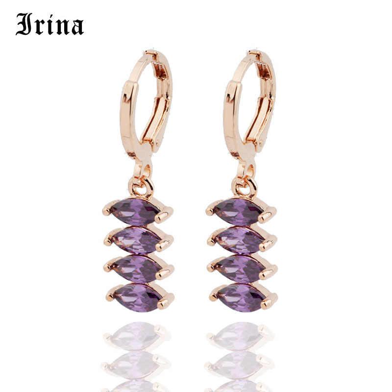 Irina 2019 Moda de Nova Bonito Colorido 585 Cor de Ouro Brincos de Longa Queda Dangle Brincos de Jóias para As Mulheres Meninas