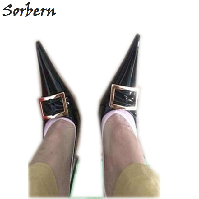 Sorbern Sexy 16Cm 18Cm Ultra Thin Metal High Heels Shoes Pointed Toe Ladies Pumps Unisex Chinese Plus Size 36-52 Pointed Heels
