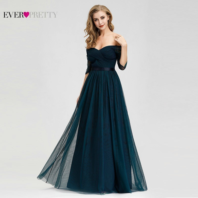 Elegant Prom Dresses Sleeves Off Shoulder 2019 Ever Pretty EP07915NB V-Neck A-Line Tulle Long Party Dresses Mezuniyet Elbiseleri