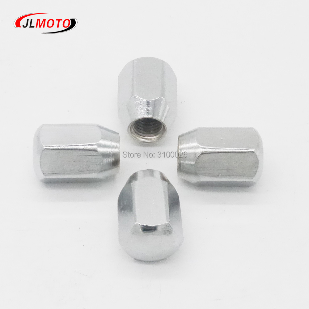 4pcs M10X18 Chrome Wheel Hub Nut Fit For Alloy Aluminum Rim Wheel ATV Scooter Buggy UTV Quad Bike Go Kart Vehicle Moto Parts