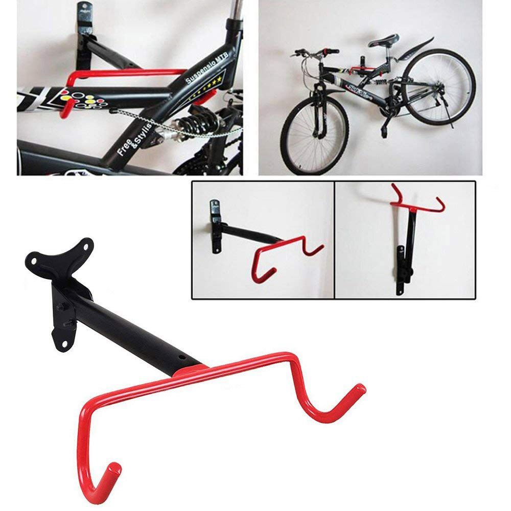 Bicycle Storage Rack Wall Mounted Bike Hanger Hook Solid Steel Bicycle Wall Hanging Hook Heavy Duty Bicycle Racks Fold Down Bi