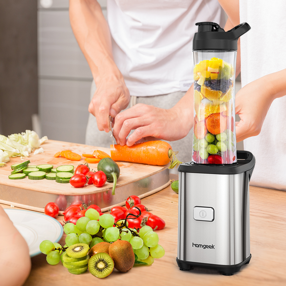 Homgeek Mini 350 W mélangeur de jus de Fruits et légumes à service unique mélangeur de Fruits de légumes avec 2 tasses de Sport de voyage sans BPA-in Presse-fruits from Maison & Animalerie    1