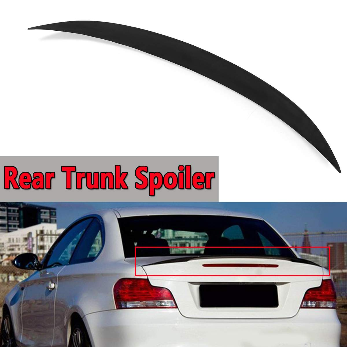 Rear Trunk Spoiler For BMW 08-13  E82 1 SERIES For COUPE 4 Door M Performance Style ABS Plastic Aluminum Rear Wing Spoiler 121cmRear Trunk Spoiler For BMW 08-13  E82 1 SERIES For COUPE 4 Door M Performance Style ABS Plastic Aluminum Rear Wing Spoiler 121cm