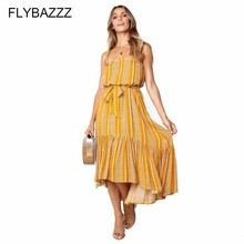 Summer Striped Print Sundress Women Tunic Beach Dress 2019 Vintage Party Ruffle Long Dress Sexy Bohemian Boho Dresses With Belt flamingo print striped box pleated dress with belt