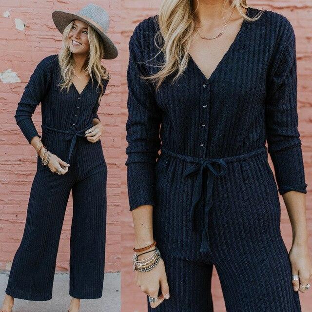 b2863d84d1ab 2019 Fashion Women Striped Casual sash Jumpsuit V-neck Playsuit Pantsuit Rompers  Overalls Body Suit Long Pants