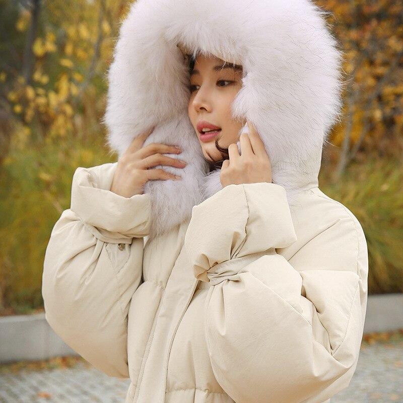 Manteau Veste D'hiver Long Parkas Capuchon Femelle Hiver Vers Col Survêtement De Fourrure Femmes À Coton Beige Bas 2018 Épaississement Le RvZUIxq