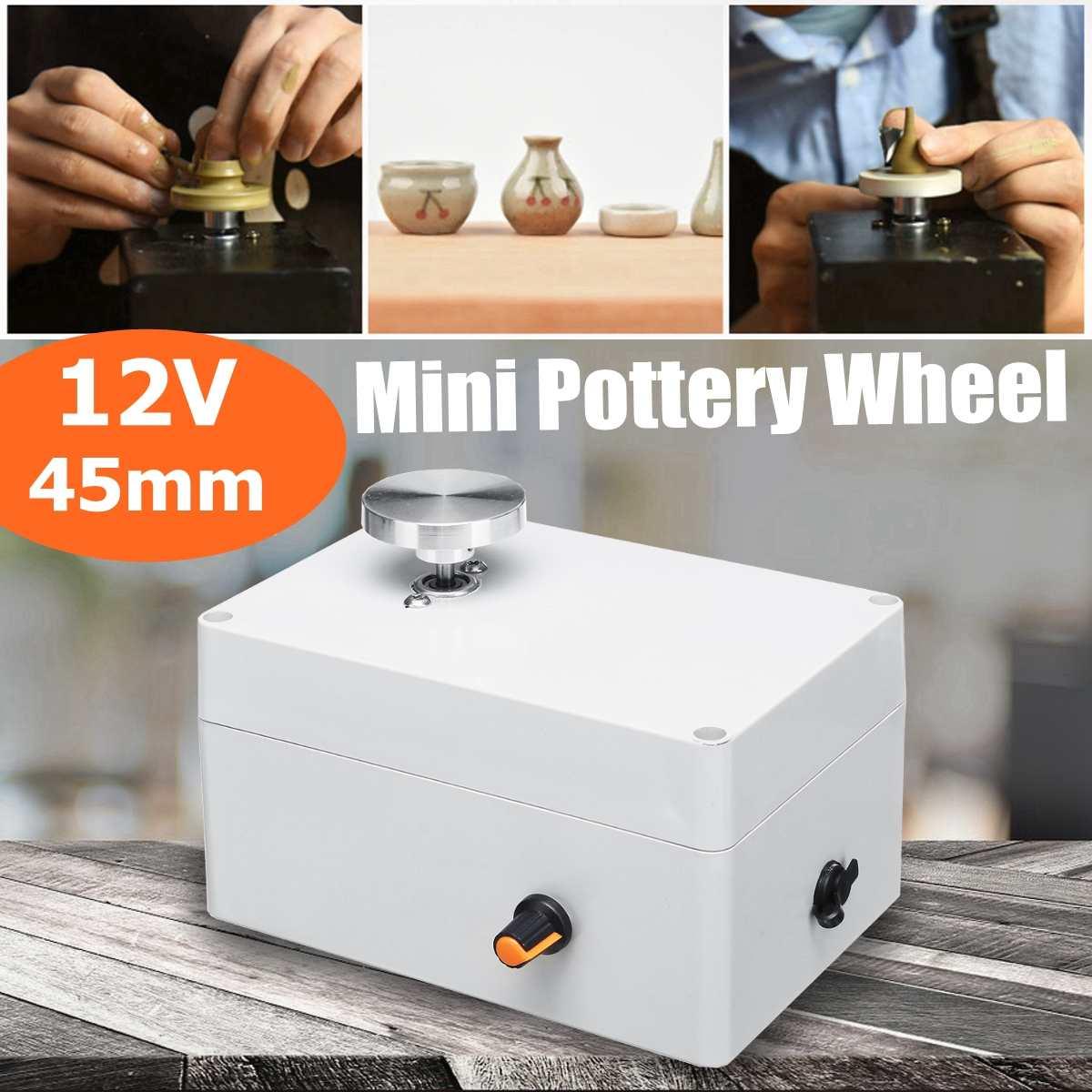 Mini roue de poterie en alliage d'aluminium 12 V 4.5 cm bouton de tourne-disque changement de vitesse continu