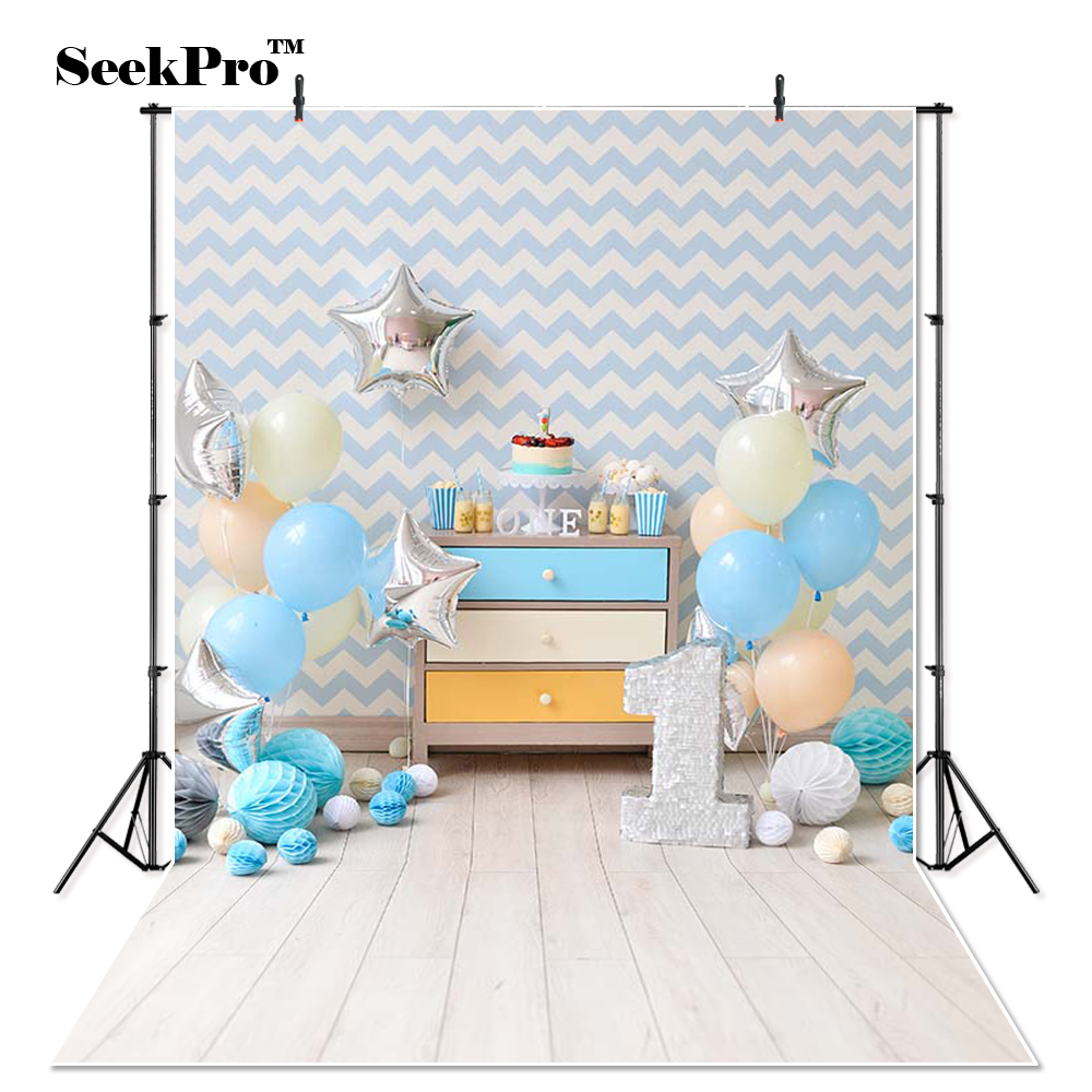 Thin Vinyl balloons cake stars birthday party Photo Backdrops Printed photo studio indoor professional Photographic Backgrounds