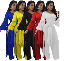 hot deal buy woman solid color lantern sleeve jumpsuits one shoulder long sleeve high quality adjusting ties jumpsuits split pants