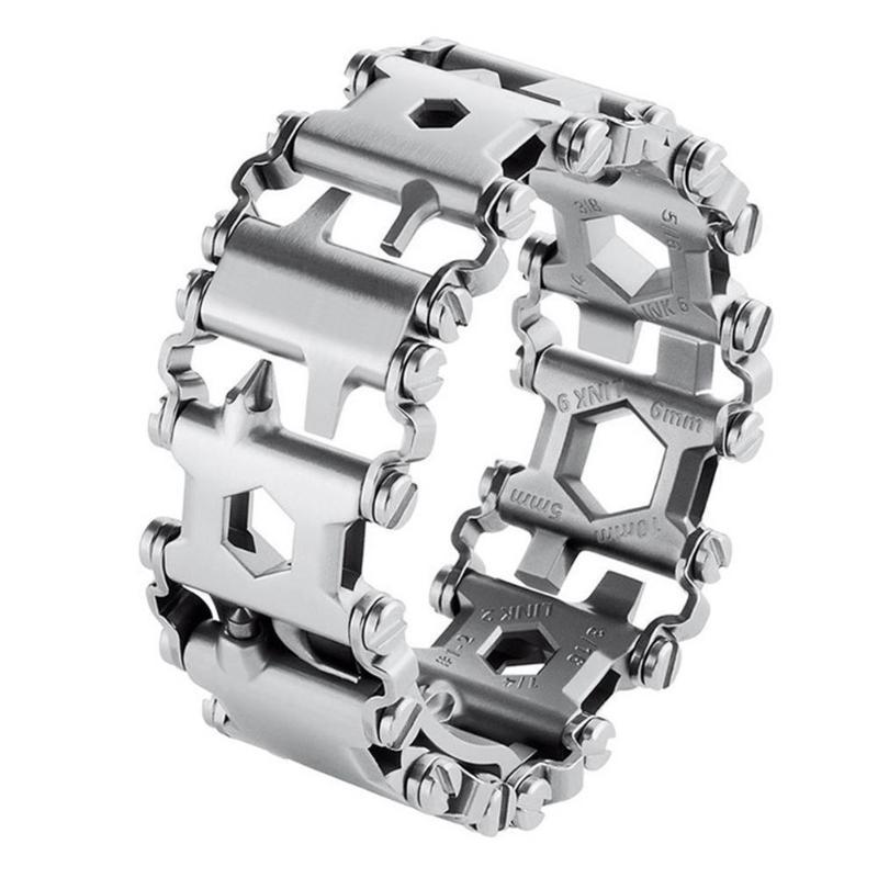 29 en 1 Bracelets multi-outils en acier inoxydable Camping randonnée Bracelet multifonction tournevis noir Kit d'urgence en plein air