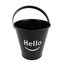Hello Printed черное железное ведро для льда картофель фри маленькое ведро Кофейня Бар специальный