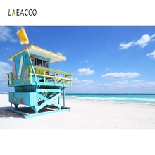 Laeacco Seaside Beach Wood House Blue Sky Backdrop Photography Backgrounds Customized Photographic Backdrops For Photo Studio