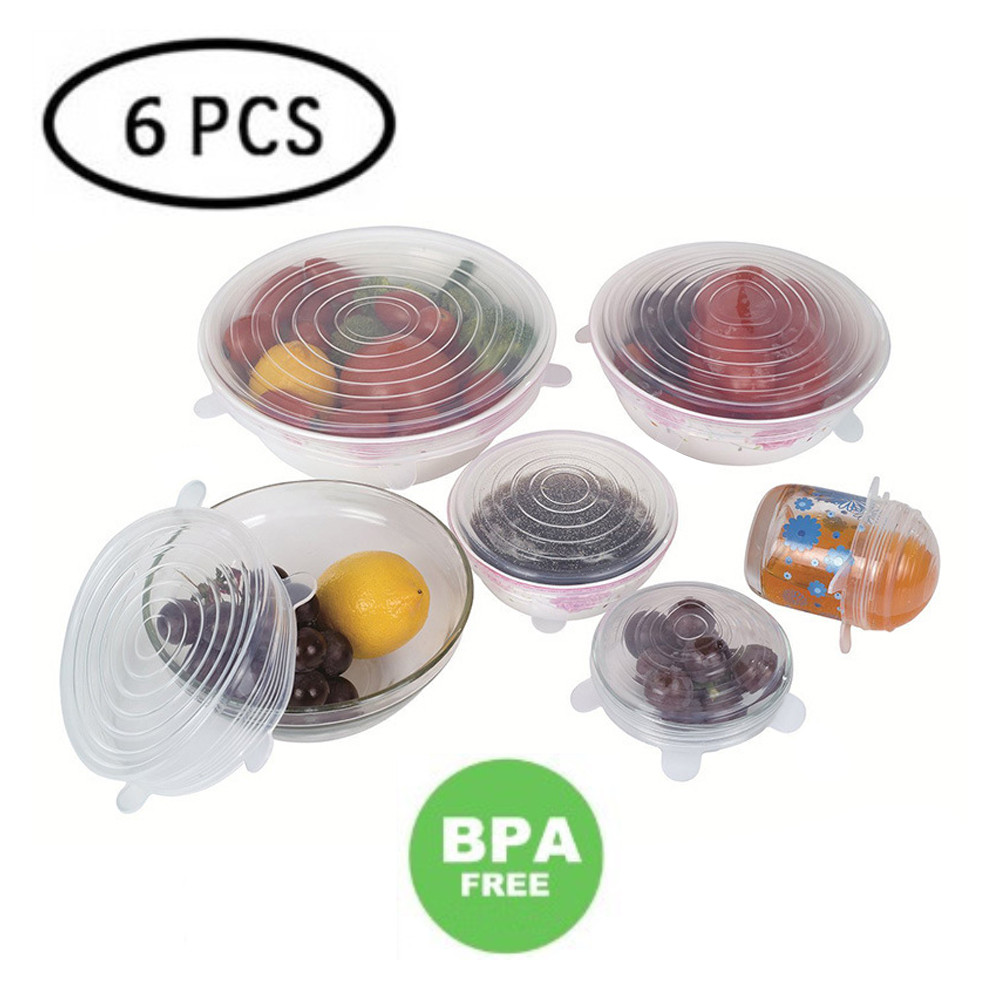 6PCS Silicone Bowl Stretch Lids Reusable Airtight Food Wrap Covers Keeping Fresh Seal Bowl Stretchy Wrap Cover Kitchen Cookware