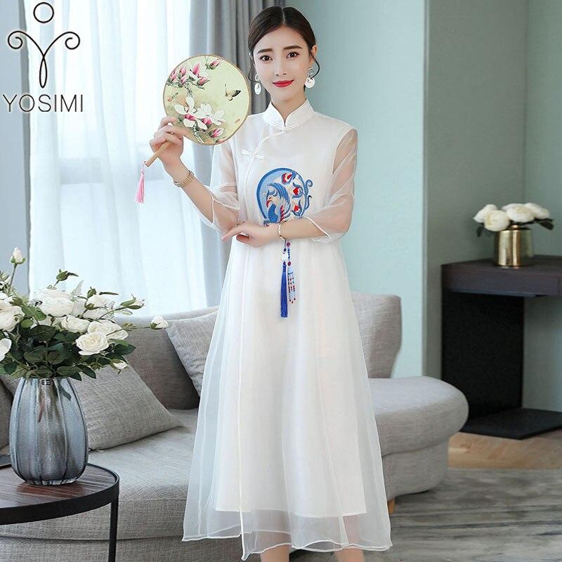 6cda60bf162 YOSIMI 2019 Весна Лето Макси винтажное длинное женское платье с ...