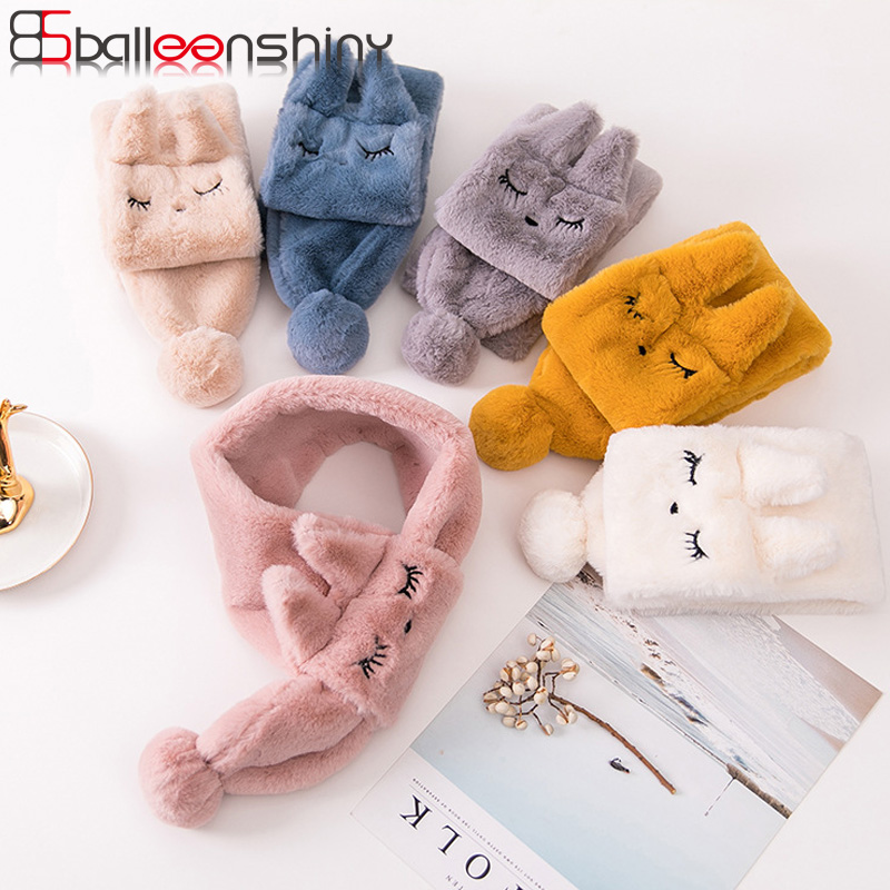 BalleenShiny Cartoon Cute Furry Scarf Autumn Winter New Style Keep Warm Plush Baby Neckerchief Child Kids Fashion Fur Scarf Gift