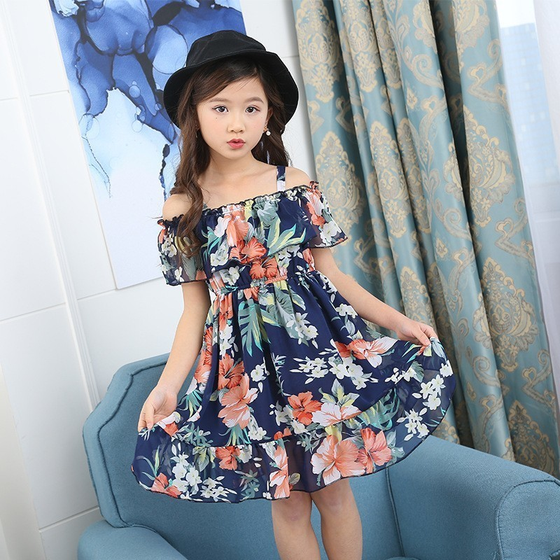 Holiday Kids Dresses For Girls 2019 Clothes Chiffon Summer Printed Floral Dress Girl 10 12 13 4 6 8 Years Baby Children Clothing