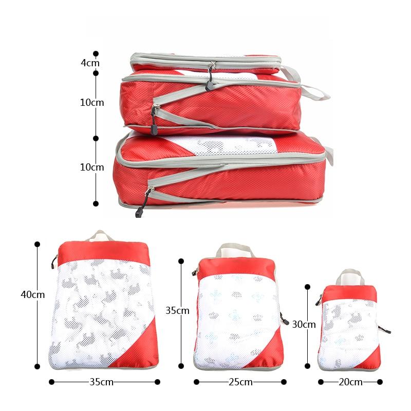 Nylon Men Women Travel Bag Organizer Hand Luggage Large Capacity Travel Bag Foldable Waterproof Compression Packing Cubes
