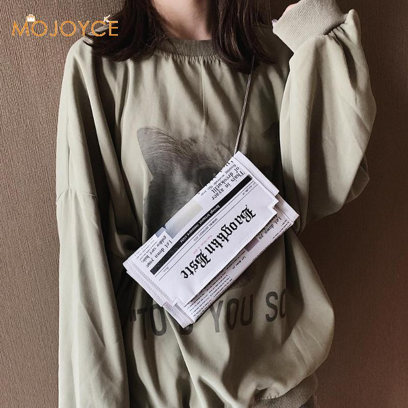 Women Newspaper Print Design Crossbody Messenger Bag Casual Flap Envelope Bag Day Clutches Purse Chain Shoulder Bag PU Handbag