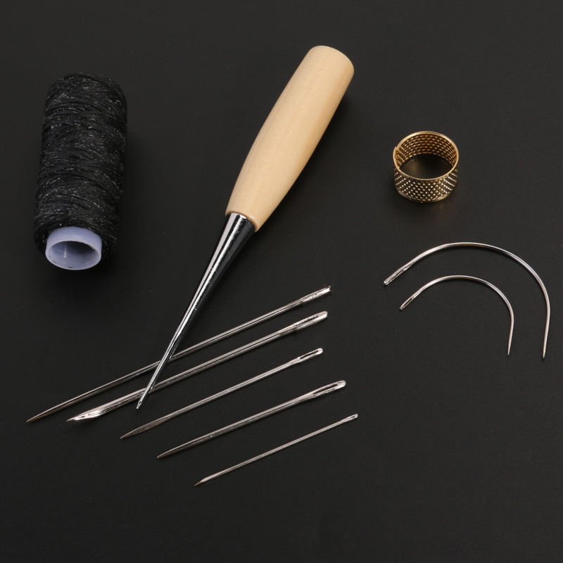 LEATHER CANVAS REPAIRING HAND STITCH SEW SEWING AWL TOOL NEEDLE STITCHING THREAD