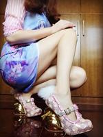 Милые женские туфли лодочки mary janes, 10 см, необычный стиль, туфли лодочки на высоком каблуке, Меховые Туфли с кроличьим мехом, кружевные туфли