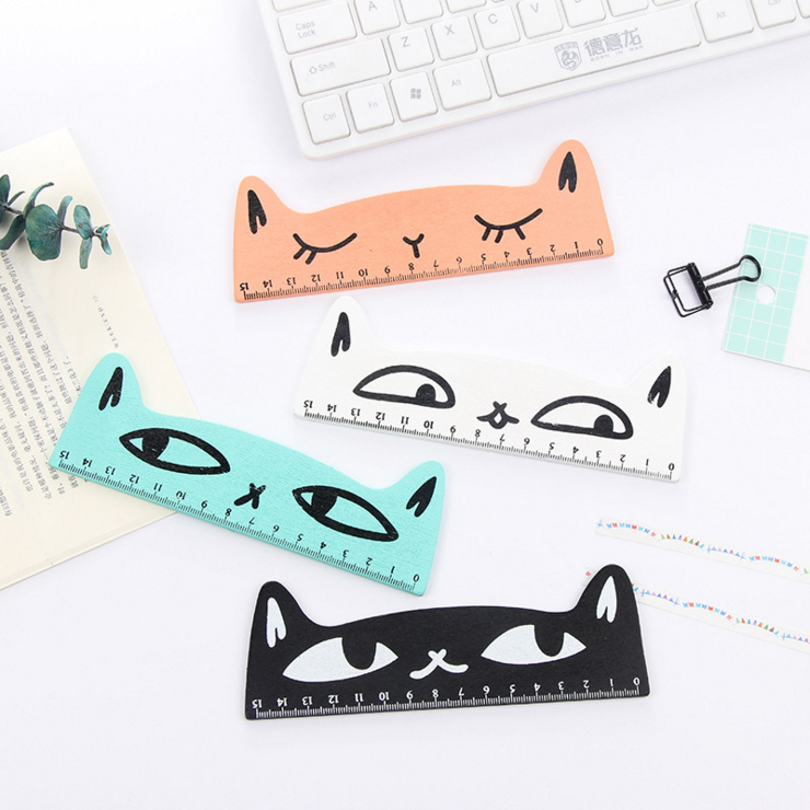 Ellen Brook 1 Piece Kawaii Cat Kitten Straight Ruler Wooden Tools Cartoon Drawing Gift Korean Office School Supplies Stationery