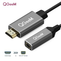 QGeeM HDMI to Mini DisplayPort Converter Adapter Cable 4K x 2K HDMI to Mini DP Adaptor for HDMI Equipped Systems Mini DP to HDMI
