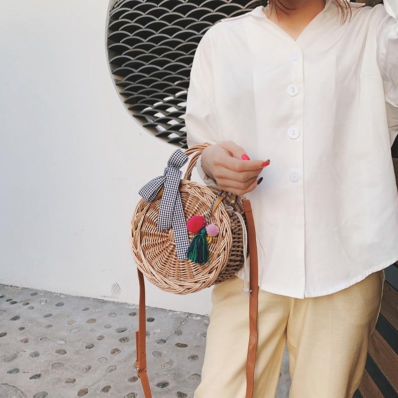 Fashion WomenS Bag Bow Woven Tassel Handbag Bamboo Series Youth Shoulder Diagonal Cross Bag Temperament Handbag RoundFashion WomenS Bag Bow Woven Tassel Handbag Bamboo Series Youth Shoulder Diagonal Cross Bag Temperament Handbag Round